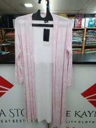 Lycra Casual Wear Long Pink Printed Shrug Dress