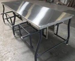 Stainless Steel Foldable Canteen Table, Shape: Rectangular