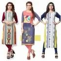Casual, Party Wear Straight Crepe Printed Kurtis, Wash Care: Machine Wash
