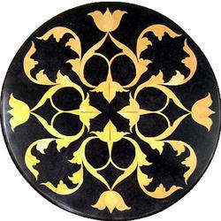 Black color restaurant marble inlay coffee round table