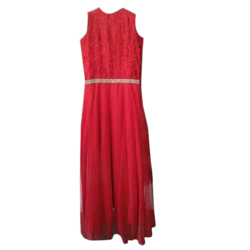 Ladies Georgette Sleeveless Red Party Wear Gown
