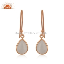 925 Silver Rose Gold Plated Rose Quartz Gemstone Earrings Designer Jewelry