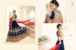 Navy Colour In Dupian Silk Stylish Lehenga