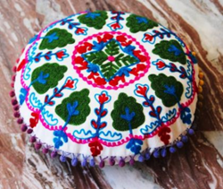 Round Embroidery Round Cotton Embroidery Cushion Cover