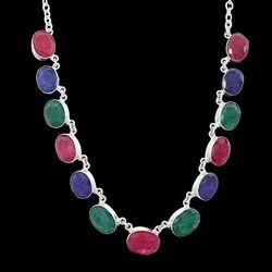 Women Silver Handmade Raw Multicolored Gemstone Necklace