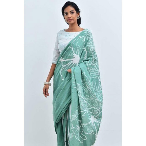 Cotton Green And White Batik Printed Saree, Length: 6 M