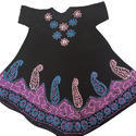 Half Sleeve Black Embroidered Dress