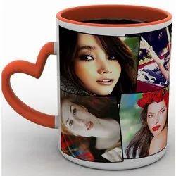 Personalized Printed Photo Mug with Heart Shape Handle, Capacity: 350 mL