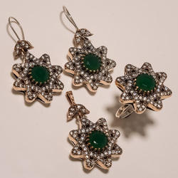 Green Copper Turkish Ring Pendants Set