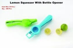 Plastic lemon squeezer with opner