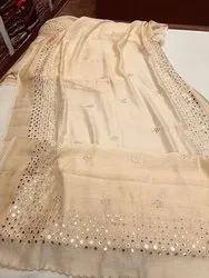 Silk Linen Mirrorwork Sarees