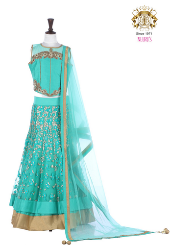 Pista Green Little Neeru S Silk Color Lehenga