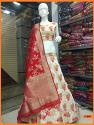 Semi-Stitched Party Wear Pure Banboo SIlk Embroidery Lehenga