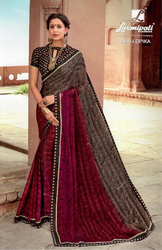 Laxmipati Grey and Pink Chiffon Saree DILBARO 5409