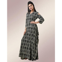 Fidaindia 3/4th Sleeves Cold Shouldered Square Cut Gown, Size: Xxl