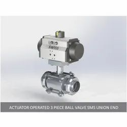 Actuator Operated 3 Piece Ball Valve SMS Union End