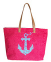 Jute Beach Bag With Anchor Print