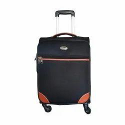 Black Plain PU Luggage Trolley Bag