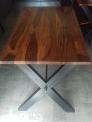 Metal Wooden Dinning table, for Restaurant, Size/Dimension: 48*30*30''