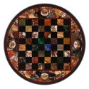 Floral Design Black Marble Stone Inlay Dining Table Top
