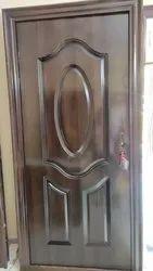 Brown Woodfinish Security Steel Door, For Home
