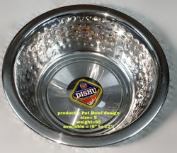 Stainless Steel Round Pet Bowl Design, For Home, Size: 9
