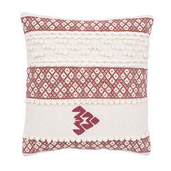 Embroidered Red White Cotton Cushion Cover