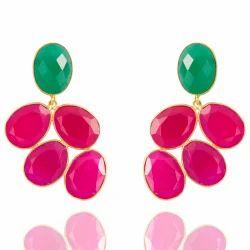 925 Sterling Silver Flower Design Gemstone Hot Look Gorgeous Earring