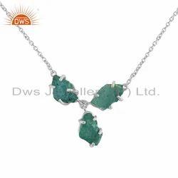 New Arrival Sterling Fine Silver Apatite Gemstone Chain Pendant