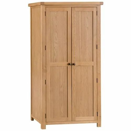 Brown Double Door Wooden Wardrobe, for Home