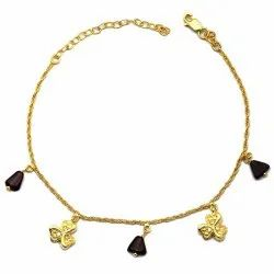 OE0632-08 925 Sterling Silver Gold Plated  Anklet