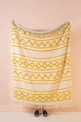 Boho Cotton Canvas Throws Mustard Hand Tufted Moroccan Throw Blankets Bed Throws Sofa Couch Throw