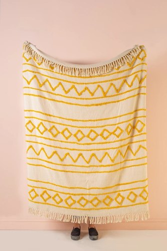 Boho Cotton Canvas Throws Mustard Hand