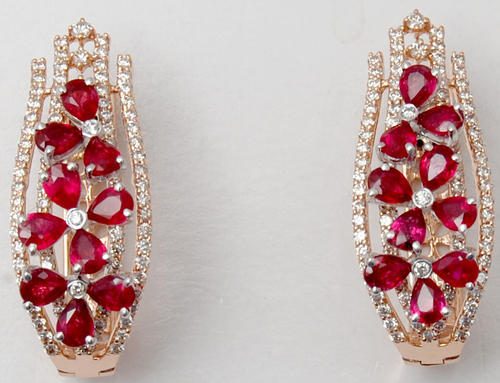 9a883a2822 Silver And Gift Glamorous Prong Set Diamond Studded Pear Ruby Earrings By  Indian Wholesaler