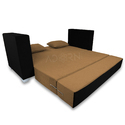 Adorn India Almond 3 Seater Sofa Cum Bed ( Camel & Black)
