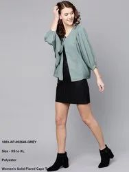 Women's Solid Flared Cape Top