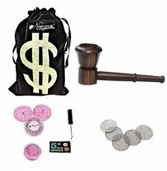 Rosewood Smoking Tobacco Pipe 5 Inch INCL. Herb Crusher & Full Accessories
