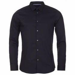 Cotton Plain Mens Black Shirt, Size: 38