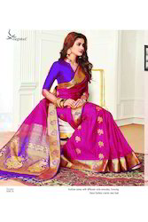 Pink And Blue Colour Art Silk Women Saree