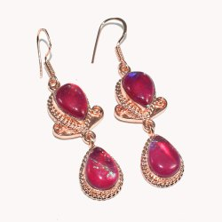 Nimbarkgems&jewellery Party Wear Opal Quartz Stone Rose Gold Plated Fashion Earring