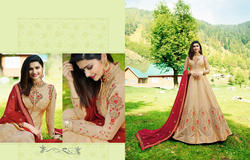 Georgette and Silk Cream Embroidered Anarkali Suit