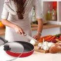 Nirlon Non-Stick Aluminum Frying Pan with Glass Lid
