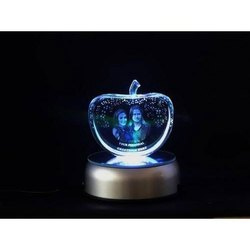 3D Crystal Photo Frame, For Decoration, Size: 4x4x5 Inch