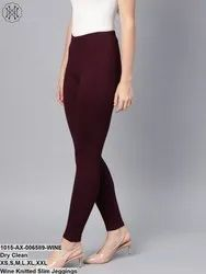 Wine Knitted Slim Jeggings
