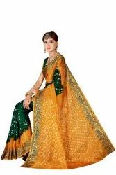 Party Wear Printed Ladies New Bandhani Saree with Blouse Piece