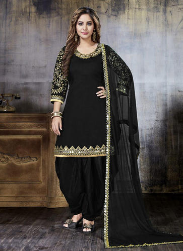 06646d38ea Black Art Silk Wedding Punjabi Suit, Rs 1540 /piece, Surat Wholesale ...