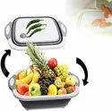 3 in 1 Collapsible Cutting Board with Basket, Dish Tub with Draining Plug-dish tub