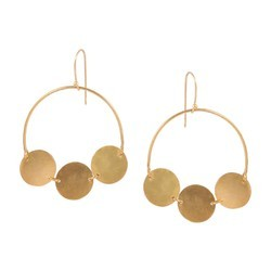 Silver Brass Gold Plated Three Tiny Circle Earring