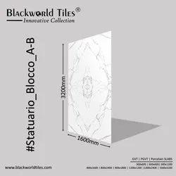 1600x3200mm Countertop Large format Porcelain Slabs Tiles Statuario Blocco A-B