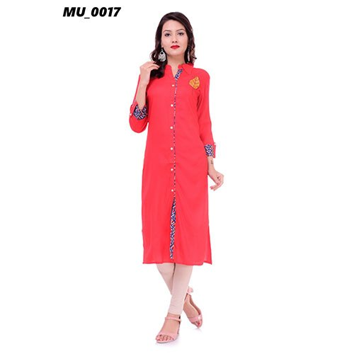 Cotton A-Line Red Ladies Fancy Kurti, Machine wash, Size: S-XXL